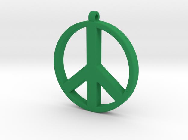 Peace Pendant in Green Processed Versatile Plastic