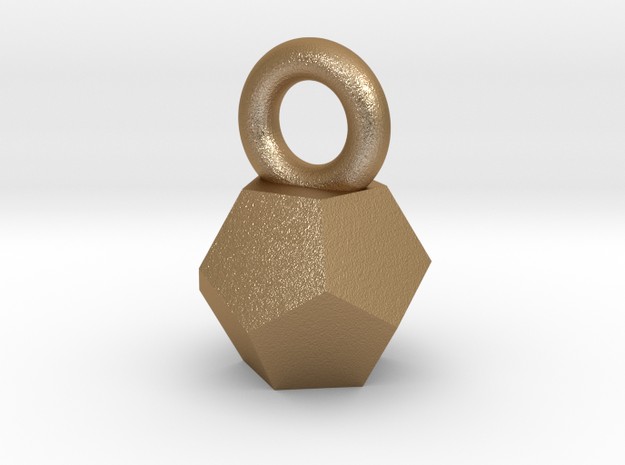 Solid Dodecahedron charm Small in Matte Gold Steel