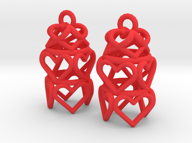 3 Tiered Heart Earrings in Red Processed Versatile Plastic