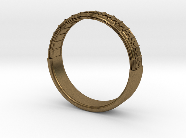 Atom Array Ring Detailed Half in Natural Bronze