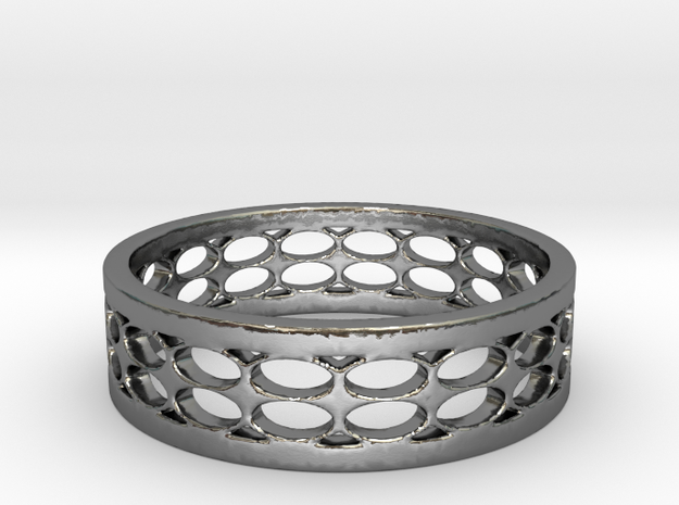 Black Circles Ring (Size 5.25) in Polished Silver