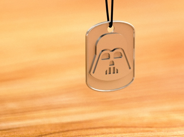 Darth Wader Dog Tag Pendat in Premium Silver