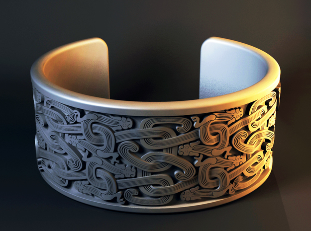 Intertwined Dragon bracelet in Polished Silver