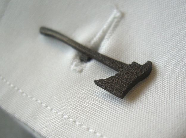 Firefighters' Axe Cufflink in Matte Black Steel