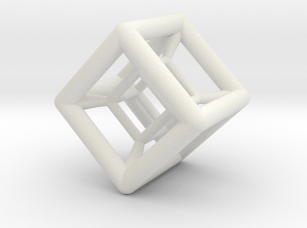 Hypercube Pendant in White Natural Versatile Plastic