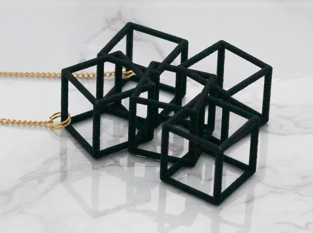 Metaesquema Pendant in Black Natural Versatile Plastic