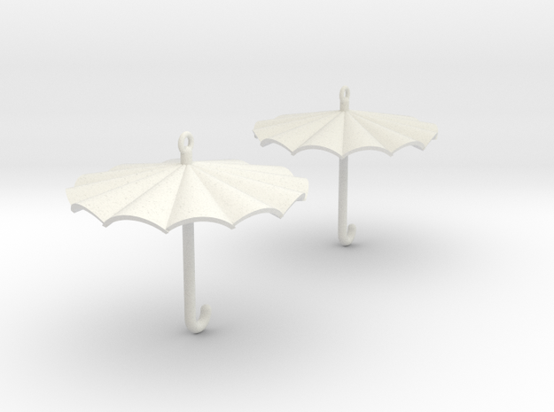 Umbrella Earrings in White Natural Versatile Plastic