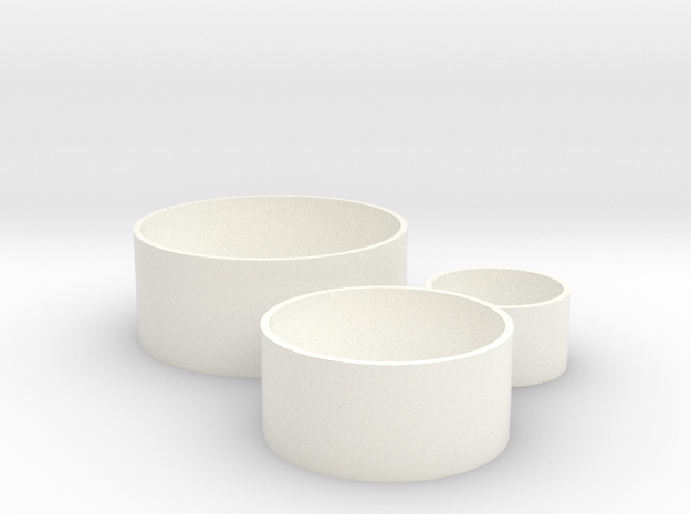 Cylinder Planters Smooth Collection 1:12 Scale in White Processed Versatile Plastic