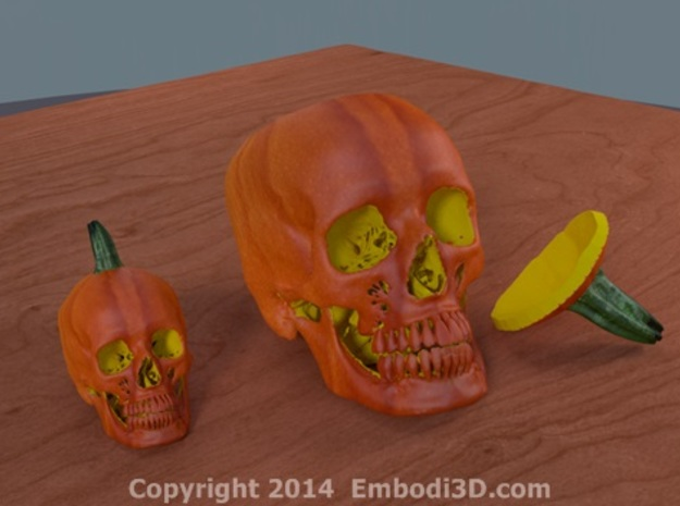 Jack-o'-lantern skull from CT scan, full size 3d printed