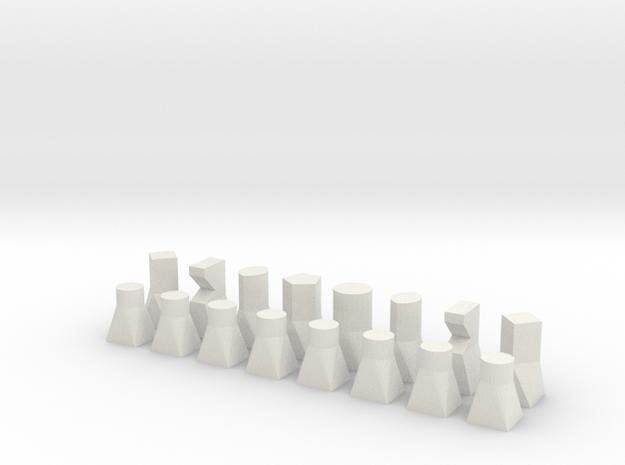 Bauhaus type chess set in White Strong & Flexible