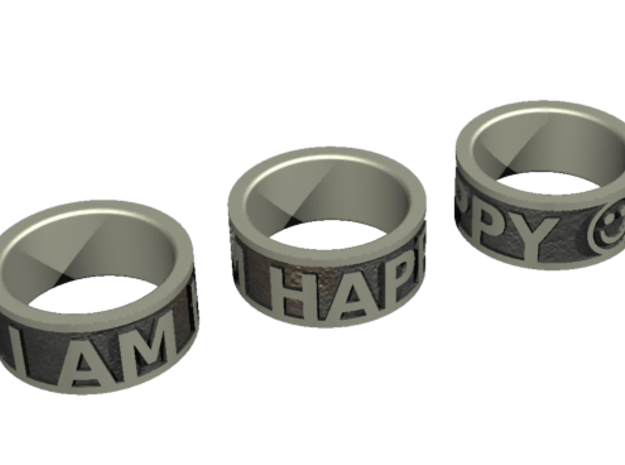 Happy Ring - US Size 7 in White Natural Versatile Plastic