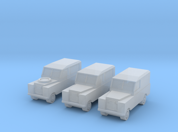 1:450 Land Rover Series 2a, Set of 3, for T gauge in Smooth Fine Detail Plastic