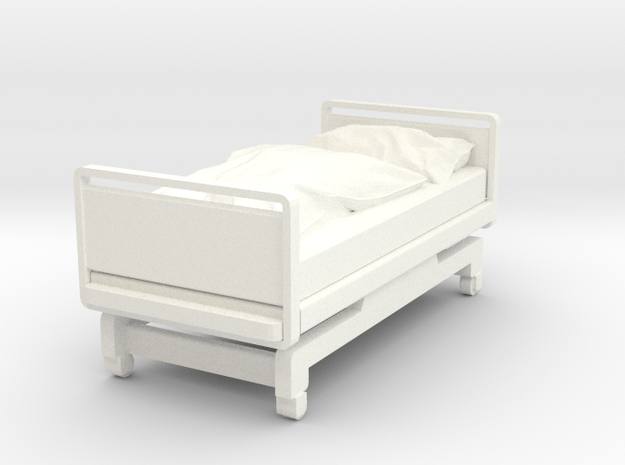 Hospital Bed in White Processed Versatile Plastic