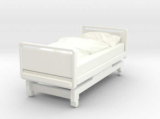Hospital Bed in White Processed Versatile Plastic