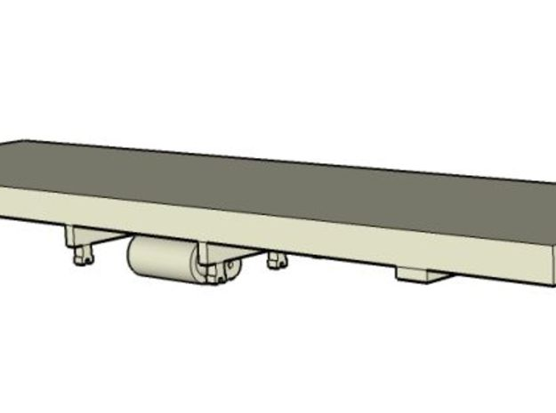 HOn30 25 foot flatcar chassis (basic) in White Natural Versatile Plastic