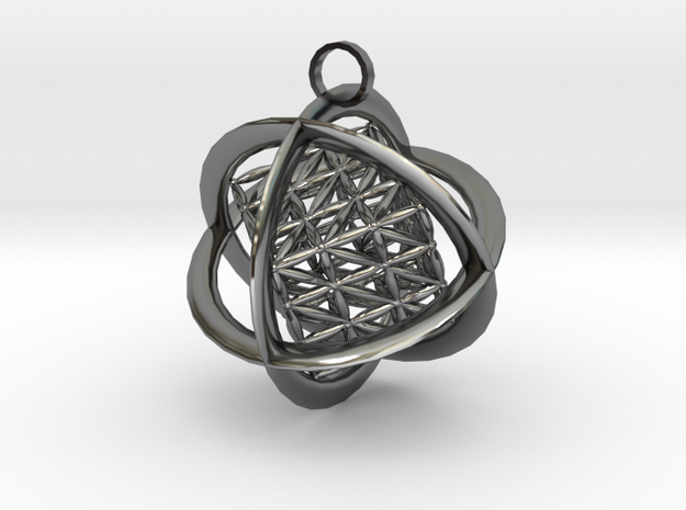 Flower of Life MetaCube with Rings pendant 3d printed