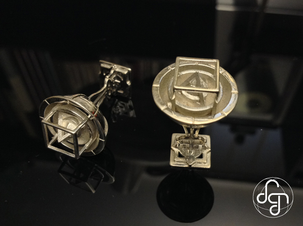 Keplerian Cufflinks 3d printed Detail [Polished Silver]