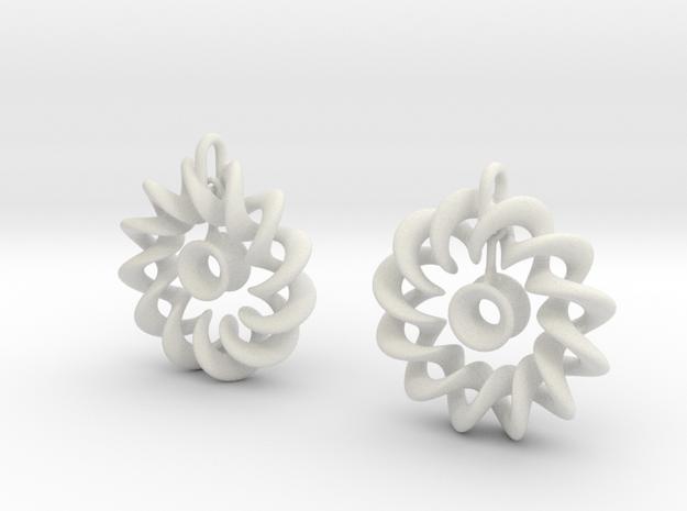 Ear Ring Pendant3 in White Strong & Flexible