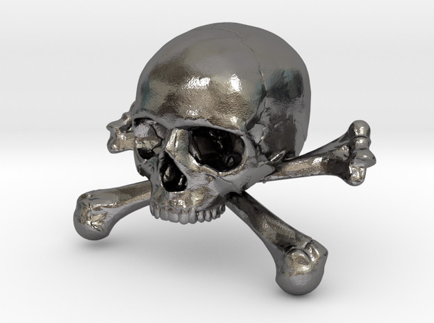 58mm 2.28in Skull & Bones Skull Crane Schädel in Polished Nickel Steel