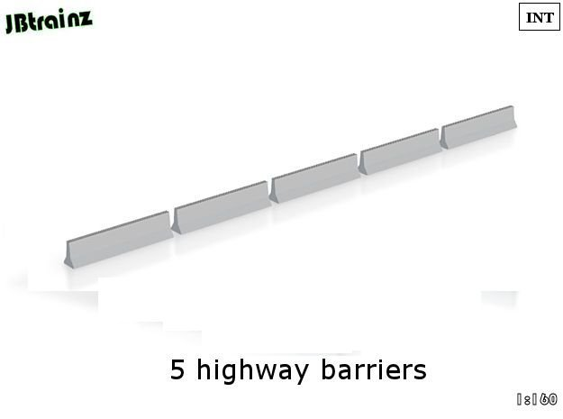 5 Highway Barriers (1:160) in White Acrylic