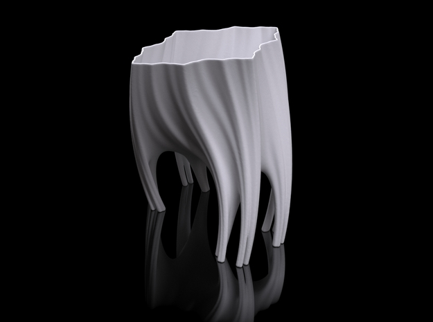 Julia Vase #003 - Roots in White Natural Versatile Plastic