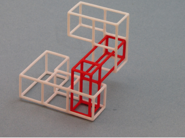 """""""SOMA's Revenge"""" - Inner Parts Only 3d printed Red inner part interlocked with 2 outer parts"""