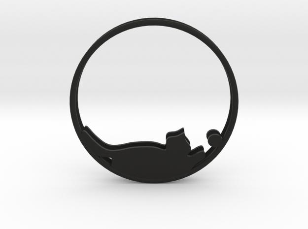 Cat Playing Ball Hoop Earrings 40mm in Black Natural Versatile Plastic
