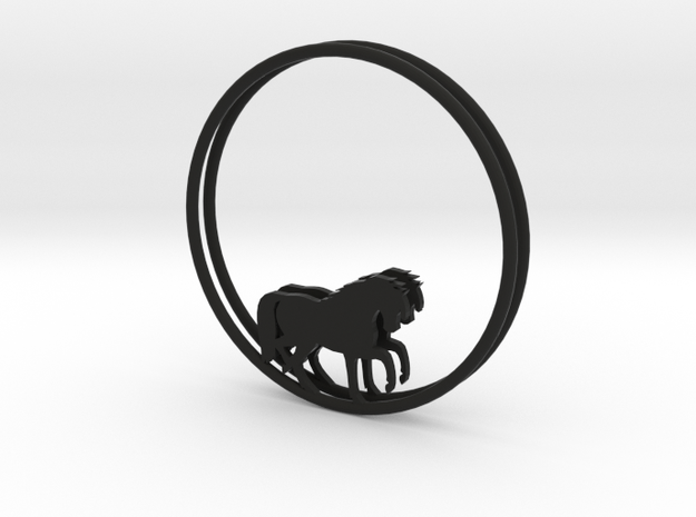 Horse Hoop Earrings 40mm in Black Natural Versatile Plastic