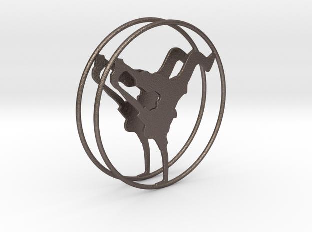 Breakdancer Hoop Earrings 50mm in Polished Bronzed Silver Steel