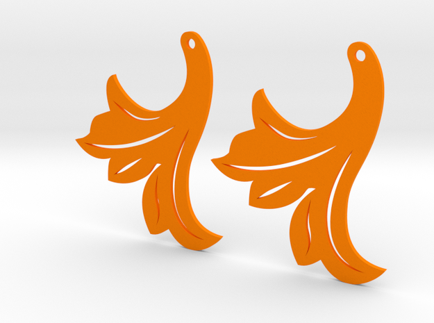Leaf Earrings 40mm in Orange Processed Versatile Plastic