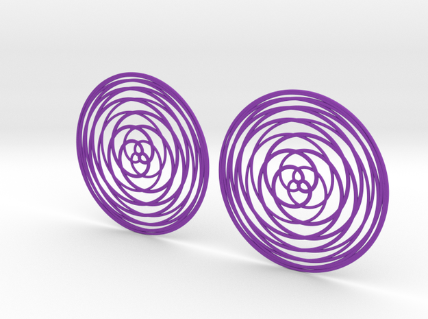 Rose Curve Earrings 60mm in Purple Processed Versatile Plastic