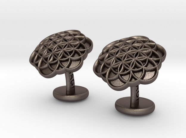 FlowerOfLifeCufflinks in Polished Bronzed Silver Steel