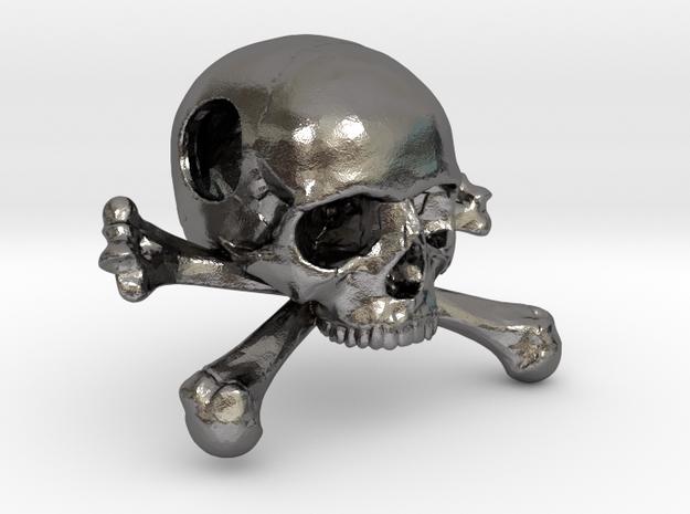 25mm 1in Bead Skull & Bones Pendant Crane in Polished Nickel Steel