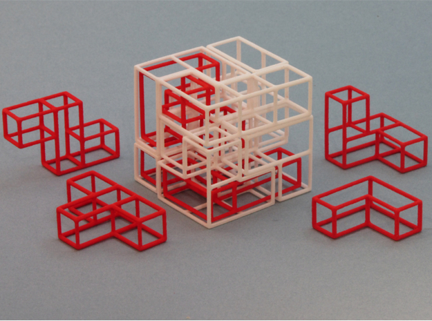 """SOMA's Revenge"" - Interlocking Puzzle Cube in White Strong & Flexible"