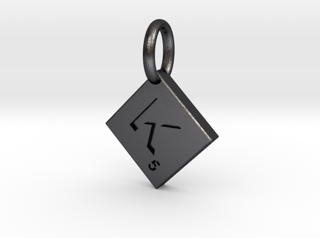 SCRABBLE TILE PENDANT  K  in Polished and Bronzed Black Steel