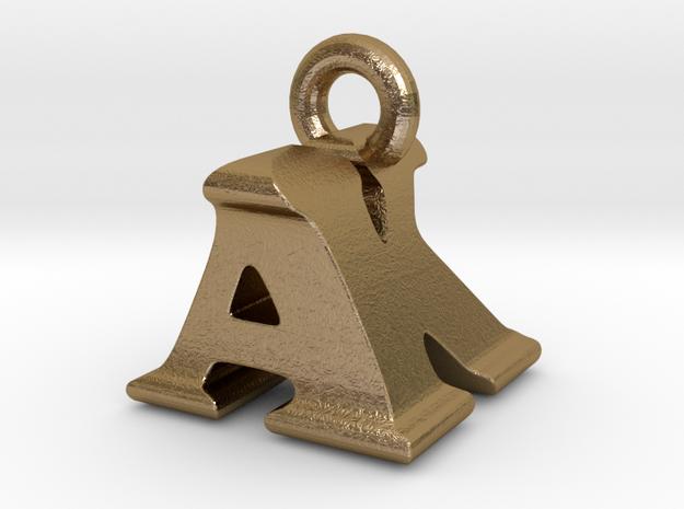 3D Monogram Pendant - AKF1 in Polished Gold Steel