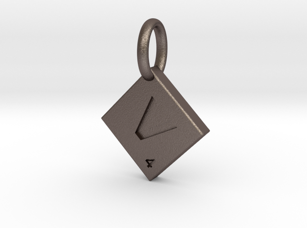 SCRABBLE TILE PENDANT  V  in Polished Bronzed Silver Steel