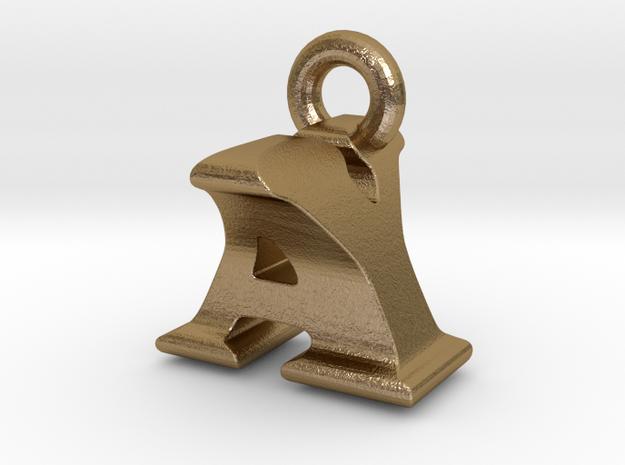 3D Monogram Pendant - AYF1 in Polished Gold Steel