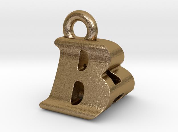 3D Monogram Pendant - BAF1 in Polished Gold Steel