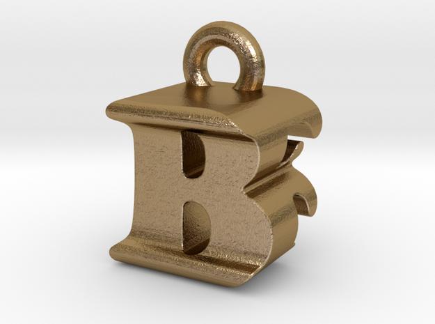 3D Monogram Pendant - BFF1 in Polished Gold Steel
