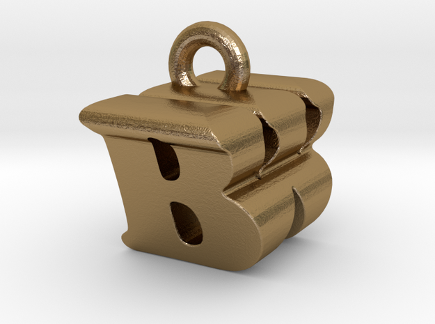 3D Monogram Pendant - BWF1 in Polished Gold Steel