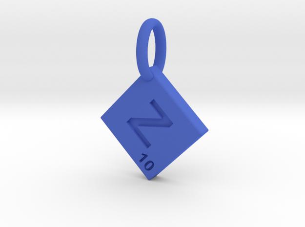 SCRABBLE TILE PENDANT  Z  in Blue Processed Versatile Plastic