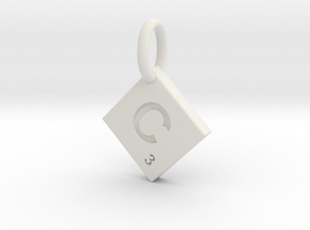 SCRABBLE TILE PENDANT C in White Natural Versatile Plastic