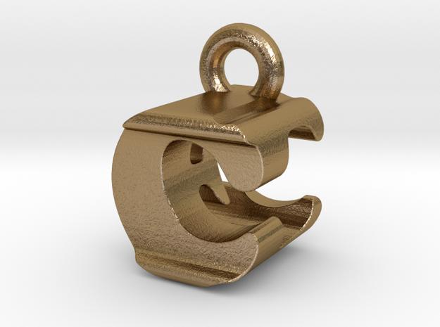 3D Monogram Pendant - CEF1 in Polished Gold Steel