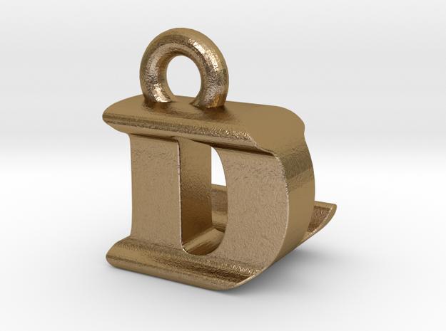 3D Monogram Pendant - DLF1 in Polished Gold Steel