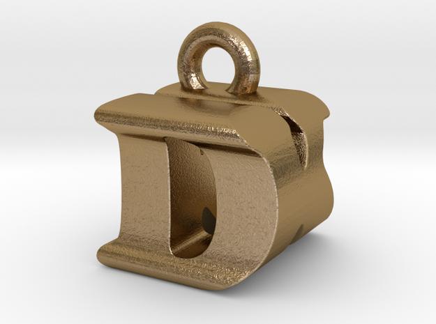 3D Monogram Pendant - DKF1 in Polished Gold Steel