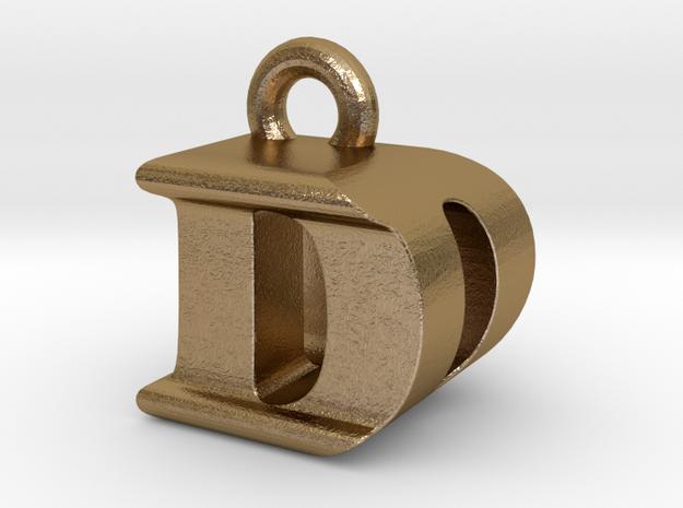 3D Monogram Pendant - DDF1 in Polished Gold Steel