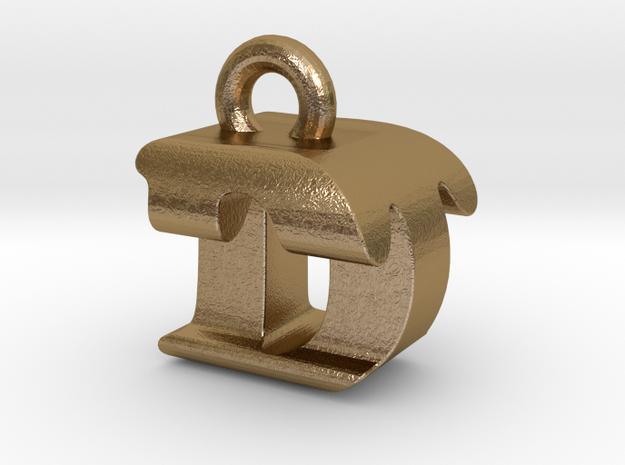 3D Monogram Pendant - DTF1 in Polished Gold Steel