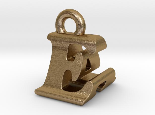 3D Monogram Pendant - EAF1 in Polished Gold Steel