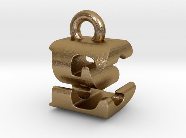 3D Monogram Pendant - ESF1 in Polished Gold Steel